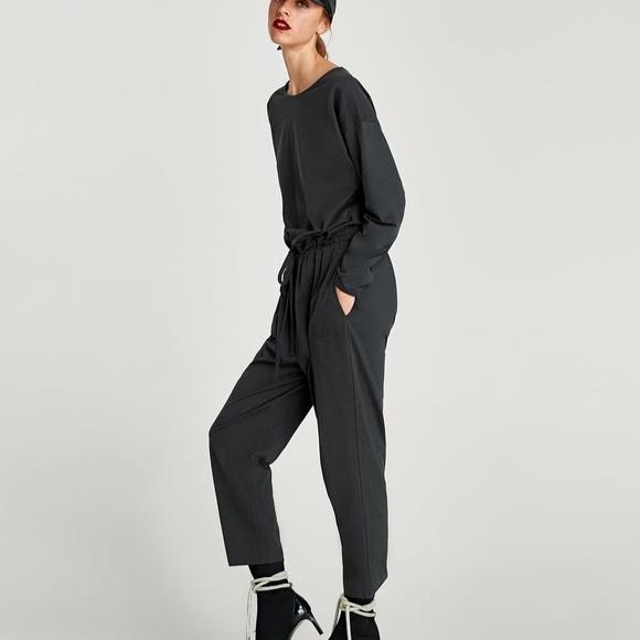 43e754bc751 NWT Zara Charcoal Gray Gathered Waist Jumpsuit